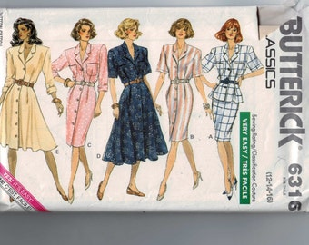 1980s Vintage Sewing Pattern Butterick 6316 Misses Easy Two Piece One Piece Button Front Dress Peplum Size 12 14 16 Bust 34 36 38 UNCUT 80s