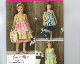Girls Sewing Pattern Simplicity 2171 Girls Sundress and Ruffled Bloomers Sarah Rose Size 3 4 5 6 7 8 Breast 22-27 UNCUT  99