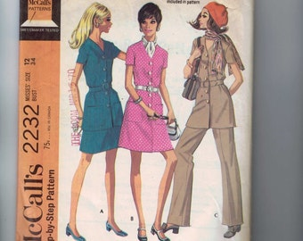 1960s Vintage Dress Pattern McCalls 2232 Misses Tunic Dress Button Front Pants Skirt Size 12 Bust 34 1969 60s  99