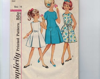 1960s Vintage Sewing Pattern Simplicity 4922 Juniors Girls Dress with Inverted Pleats in Skirt Size 14 Breast Bust 32 1960s 60s  99