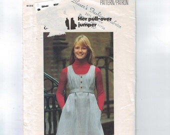1970s Vintage Sewing Pattern Butterick 5331 Girls Easy Pullover Jumper High Waist Size 8 Breast 27 1970s 70s  99