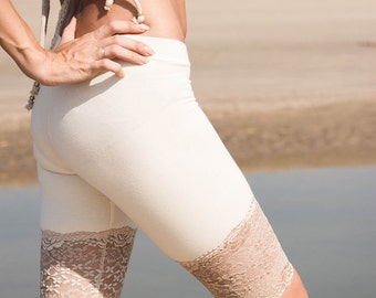 LONG ORGANIC KNICKERS - Perfect under skirts and dresses - Shorts Hot pants - Lace Underwear - Pirate Burlesque Hippie boho Yoga - Off white