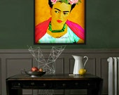 Frida Kahlo Roses Print Instant Digital Download Photomontage Modern Home Decor Small t Poster Mexican Rose Pink Gold Green Black White Gold