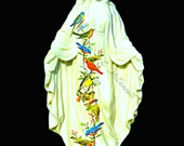 Mary Birds Our Lady Art Print Instant Digital Download Mixed Media Collage Modern Shrine Black White Red Yellow Blue Small to Poster