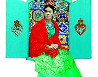 Frida Kahlo Nicho Poster Print Instant Digital Download Original Mixed Media Photomontage Modern Home Deco Mexican Retablo Blue Red Green