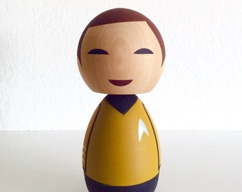 Kokeshi doll. Star Trek inspired Captain Kirk custom.