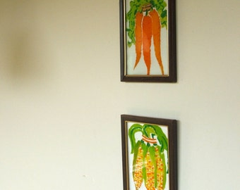 Vintage Reverse Painted Glass Carrots and Corn