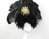 Black Feather Showgirl Headdress - Burlesque Costume - Black and Gold Headpiece - Viva Las Vegas - Halloween Costume - Drag Queen Costume