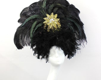 Black Feather Showgirl Headdress - Burlesque Costume - Black and Gold Headpiece - Viva Las Vegas - Halloween Costume - Drag Queen Costume