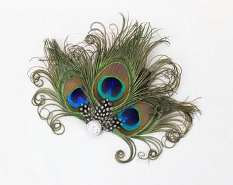 Silver Headpiece - Feather Hair Clip - Peacock Fascinator - Bridesmaids Hair Accessory - Girls Dance Costume