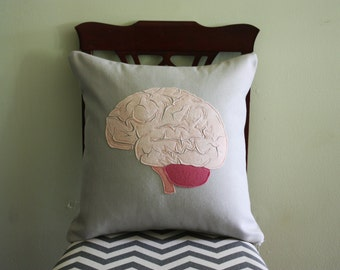 Science Diagram Pillow - Brain // Anatomy // Medicine // Organ // Neurologist // Brainy // Doctor // Genius // Smart // IQ // Intelligence