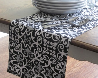 Black, Grey and White Table Runner - Weddings, Receptions, Parties, Dining Table, Buffet