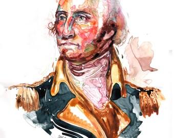 Watercolor portrait painting of  General George Washington