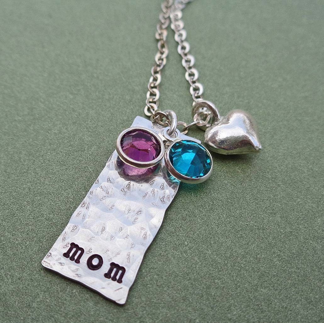 Mother necklace bar with heart and by desertrainjewelry on etsy