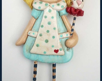 New Polymer Clay Wall Art Alice and Rabbit