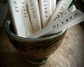 Ceramic garden marker set, vegetable, herb stakes set of 18 CUSTOM ORDER
