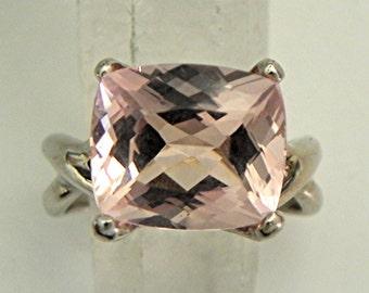 AAAA 12x10mm 5.47 carat Cushion Cut Peach Morganite set in 14K White gold - ELKE- ring MMM