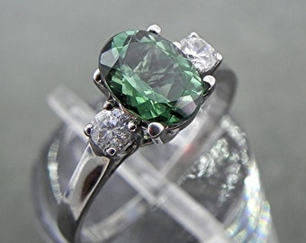 AAAA Green Tourmaline 8x6mm 1.17 ct with .14 cts of Diamonds 14K white gold ring 1104 C863 MMM