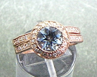 AAAA Blue Aquamarine   7mm  1.18 Carats   in 14K Rose gold bridal set with .35cts of diamonds. B007 1473 MMMM