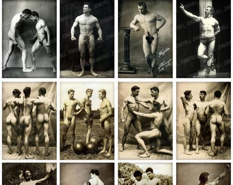 """MALE NUDES - Digital Printable Collage Sheet - 1.75"""" x 2.5"""" - Vintage Male Nudes, Carnival Strong Men, Mature Risque, Digital Download"""