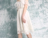 Boho Bridal Lace Ivory Dress -  Shoulder Sleeve - Handmade by Vivat Veritas