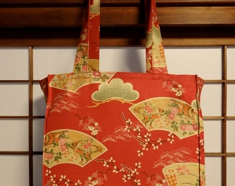 Japanese Tote Bag, Pines and Pussy Willows in Red TIGHT 'N' TIDY Tote Bag, Reusable Folding Shopping Bag, Green Cream Red, Traditional Style