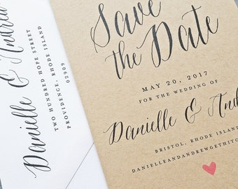 Danielle Kraft Wedding Save the Date - Calligraphy Script with Pink Heart