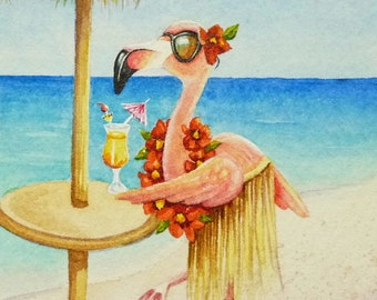 Beach Babe Flamingoes No. 4 Miniature Art - Limited Edition ACEO Giclee Print reproduced from the Original Watercolor