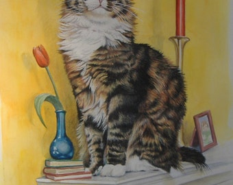 Original Painting - Cat On The Mantle