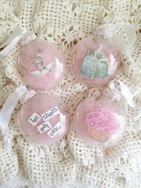 Marie Antoinette Collection Set of 4 Glass Custom Pink Let Them Eat Cake Ornaments