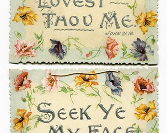 Pair of Antique Victorian 1890's Botanical, Floral Border Bible Verse Cards, Lovest Thou Me, Seek Ye My Face