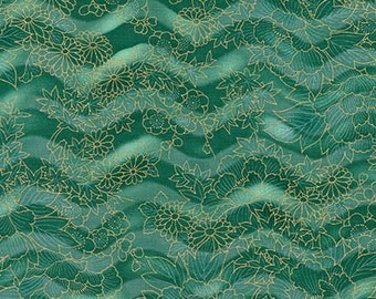 Flowers Teal Gold Spring Imperial Collection Kaufman Fabric 1 yard