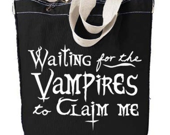 Vampire Tote Bag - Waiting for the Vampires to Claim Me - pastel goth gothic lolita bag steampunk