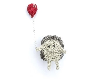 Hedgehog holding a balloon brooch - cute brooch, hedgehog jewelry, hedgehog pin, balloon jewelry, double brooch, crochet animal, hedgie gift
