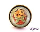Cupcake ring - Cupcake cake ring - Cupcake brown ring - Cupcake ring - Cupcake jewelry r803