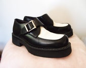TUXEDO // Vintage 90s Rockabilly Shoes Two Toned Buckle Boots Black and White 1990s Punk Platforms Mens 7.5 8 Womens 9.5 10