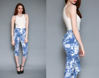 TYE DYE High Waist Capris // Stretch Denim High Waisted Pants - Size S M L