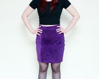 Vintage 80s Purple Suede Leather Mini Skirt - 27/28 inch Waist