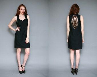 Vintage 90s Black Strappy Cage Cut Out Mini Zip Up Dress - Size L