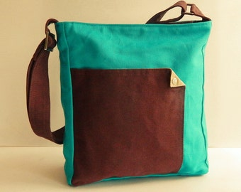 Sale - Bright Teal Crossbody Canvas Bag, tote, handbag, shoulder bag, messenger bag, travel - MAGGIE