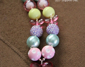 SALE 25% off! Pastel Butterfly Chunky Bubblegum Necklace RTS
