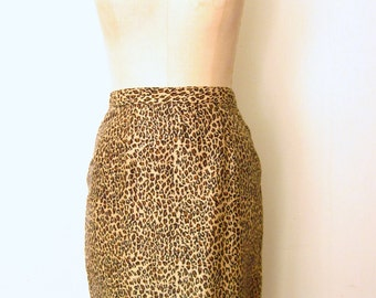 Leopard Print Skirt / Beaded Fringe Skirt / Silk Skirt / Pencil Skirt