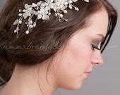 Bridal Hair Comb, Rhinestone Wedding Headpiece, Bridal Fresh Water Pearl Hair Comb - Odele