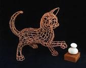 Copper Cat Wire Sculpture