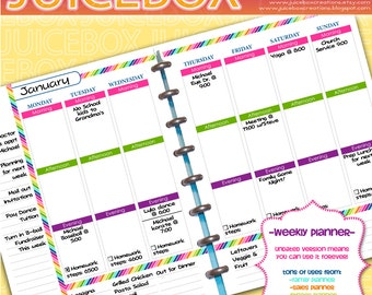 Forever Planner Printable - Full Letter - Weekly Spread - Rainbow - Instant Download - Undated