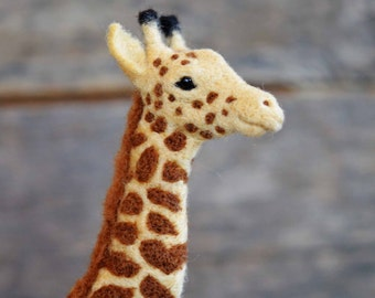 Needle Felted Giraffe - wool - african wildlife sculpture - needle felted animals