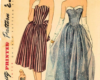 1940s Simplicity 1878 Vintage Sewing Pattern Misses Evening Gown, Formal Dress Size 14 Bust 32