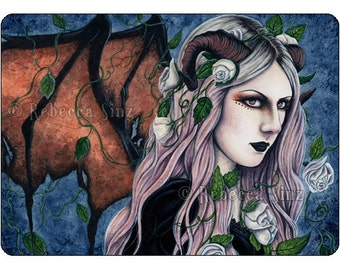 Unseelie Gothic Fairy Art ACEO Print Artist Trading Cards ATC Fantasy Art Dark Horns Roses Portrait Watercolor