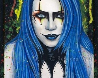 Harlequin PRINT Gothic Creepy Colorful Jester Portrait Fantasy Art Blue Hair Makeup Bright Colors 3 SIZES