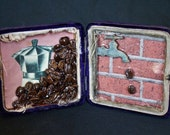 Surreal Good Cup Of Coffee - Original Mixed Media Assemblage - Box Art
